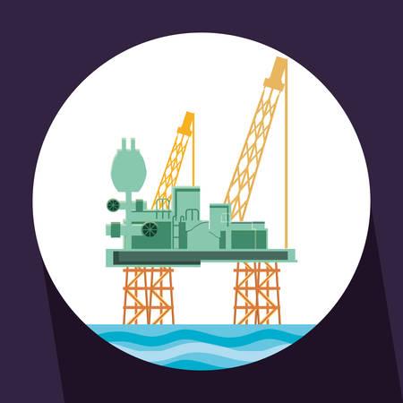 oil industry with marine platform vector illustration design Illustration