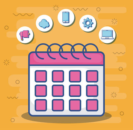 calendar with digital marketing related icons around over orange background, colorful design. vector illustration