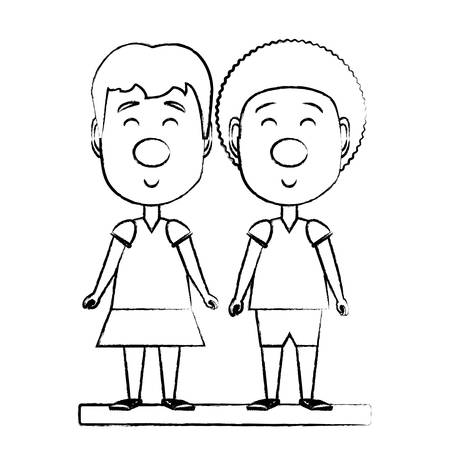 Happy girl and boy with red nose over white background, vector illustration 일러스트