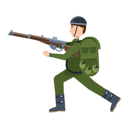 Soldato Anzac con l'attrezzatura e l'arma su sfondo bianco, illustrazione vettoriale