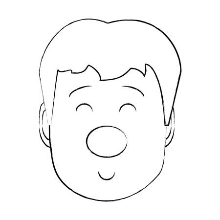 Cartoon boy face with clown nose over white background, vector illustration