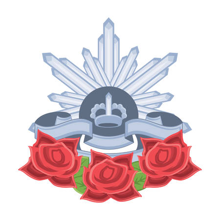 Anzac day design with  The Rising Sun Badge and poppy flowers over white background, vector illustration Illustration