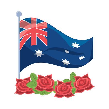 Anzac day design con bandiera australiana e fiori di papavero su sfondo bianco, illustrazione vettoriale