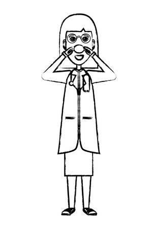woman doctor standing and touching her red nose icon over white background, vector illustration
