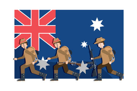 Anzac day design with australian flag and military soldiers over white background, colorful design. vector illustration