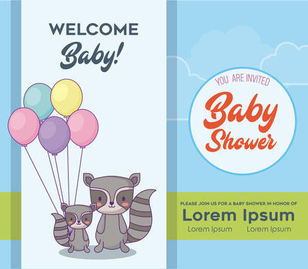 Baby shower Invitation card with cute raccoons with balloons over blue background, colorful design. vector illustration