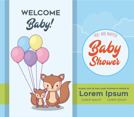 Baby shower  Invitation card with cute squirrels with balloons over blue background, colorful design. vector illustration
