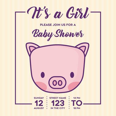 Its a girl Baby shower invitation with cute pig icon over yellow background, colorful design. vector illustration