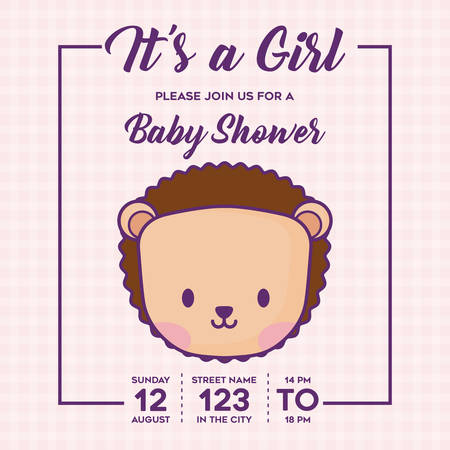 Its a girl Baby shower invitation with cute porcupine icon over pink background, colorful design. vector illustration