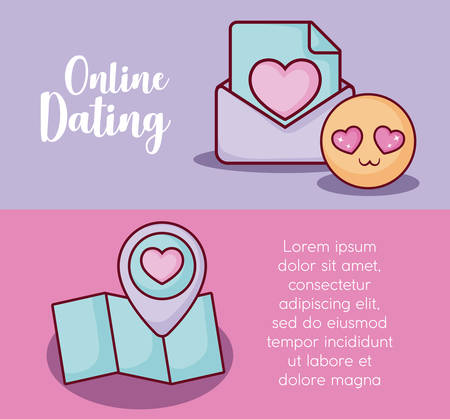 Infographic presentation of online dating concept with map and in love emoji icons over colorful background, vector illustration