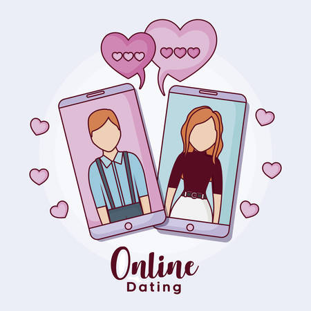 cellphones with man and woman with hearts around over purple background, colorful design. vector illustration