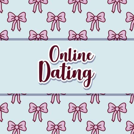 online dating design over bows pattern, colorful design. vector illustration