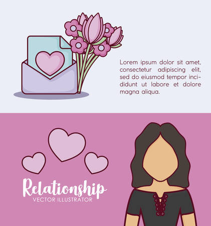 Infographic presentation of online dating concept with envelope and avatar woman icons over colorful background, vector illustration