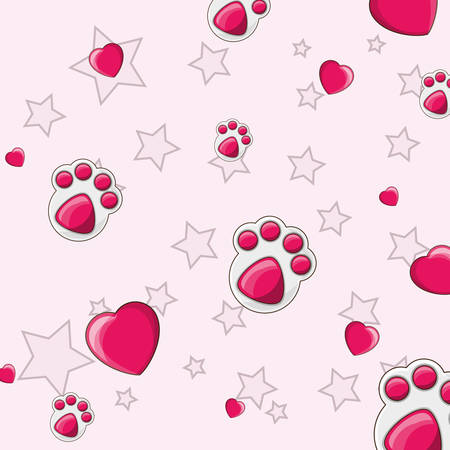 dog footprint and hearts pattern, colorful design.  vector illustration