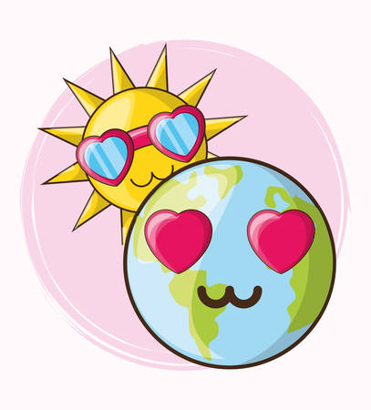 earth planet and cute sun with glasses over background, colorful design. vector illustration Foto de archivo - 103143700