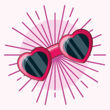 glasses in heart shape over pink background, colorful design. vector illustration