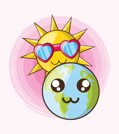 earth planet and cute sun with glasses over background, colorful design. vector illustration Illusztráció