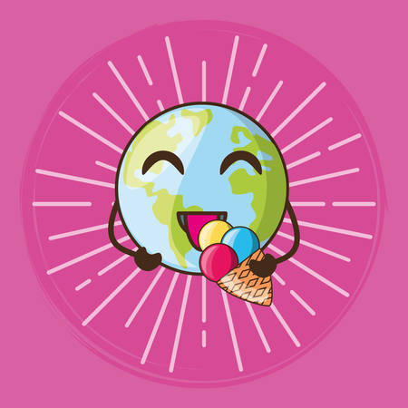 cute earth planet and ice cream over pink background, vector illustration Ilustrace
