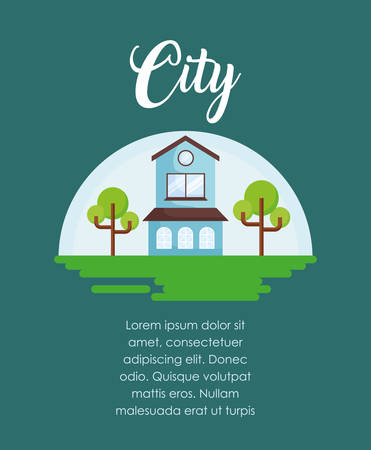 infographic presentation of urban city concept with modern house icon over blue background, colorful design. vector illustration Illustration