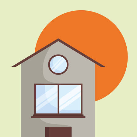 house over the sun and green background, colorful design. vector illustration  イラスト・ベクター素材