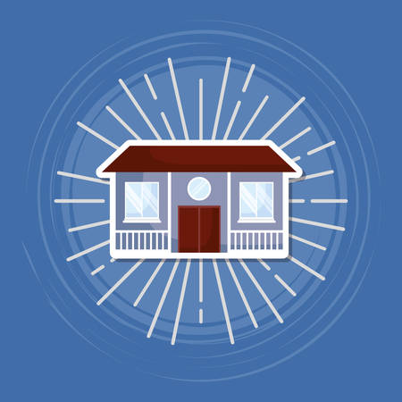 house icon over blue background, colorful design. vector illustration