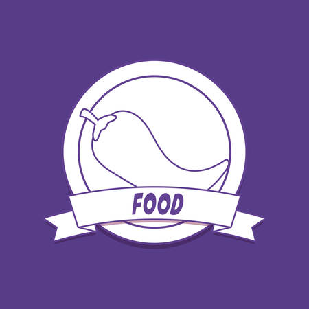 emblem of food concept with decorative ribbon and chili icon over purple background, colorful line design. vector illustration