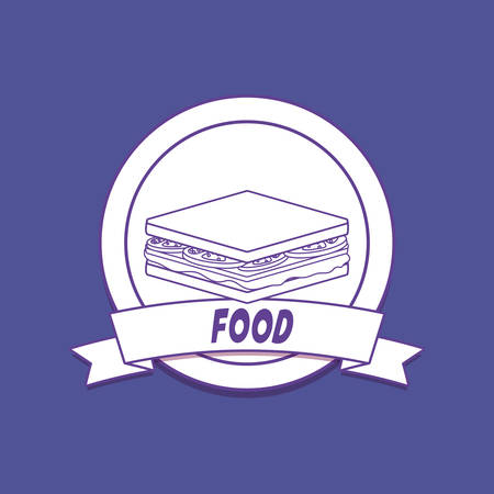 emblem of food concept with sandwich icon over blue background, colorful line design. vector illustration