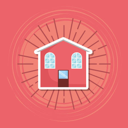 house icon over red background, colorful design. vector illustration