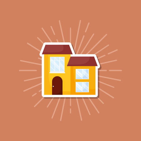 house icon over brown background, colorful design. vector illustration