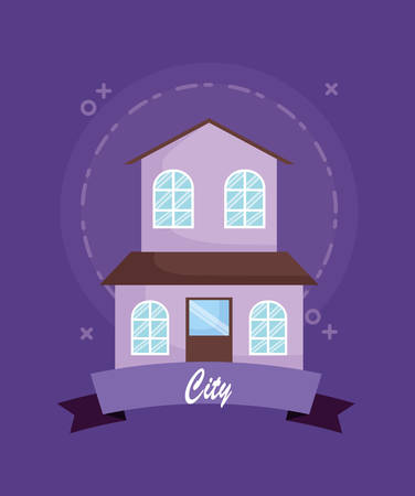 city emblem with house icon over purple background, colorful design. vector illustration