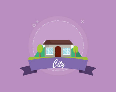 city emblem with trees and house icon over purple background, colorful design. vector illustration
