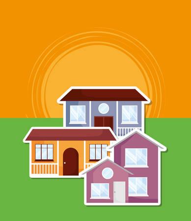 modern houses over sunset landscape, colorful design. vector illustration 일러스트