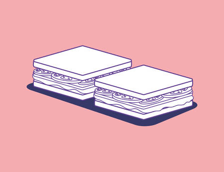 sandwichs over pink background, colorful design. vector illustration
