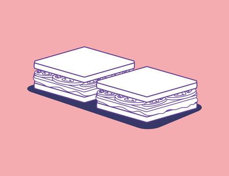 sandwichs over pink background, colorful design. vector illustration