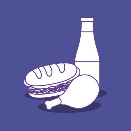 sandwich and drink bottle over blue background, colorful design. vector illustration