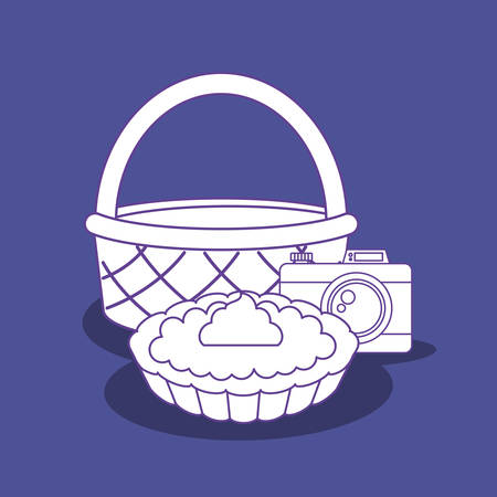 basket with sweet pie and camera over blue background, colorful design. vector illustration