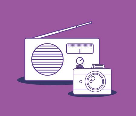 retro radio and camera over purple background, colorful design. vector illustration