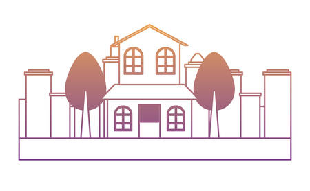 modern house and trees over white background,  colorful design. vector illustration