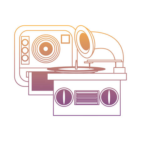 gramophone and instant camera over white background, vector illustration