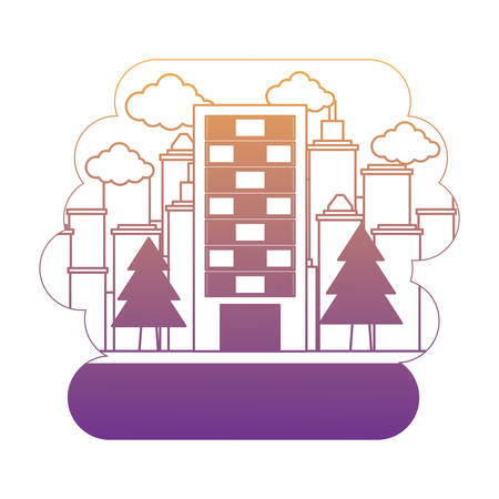 trees and city building over urban city landscape and white background, vector illustration Illustration