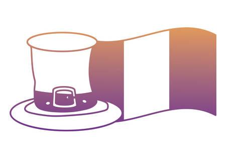 irish top hat and ireland flag over white background, vector illustration