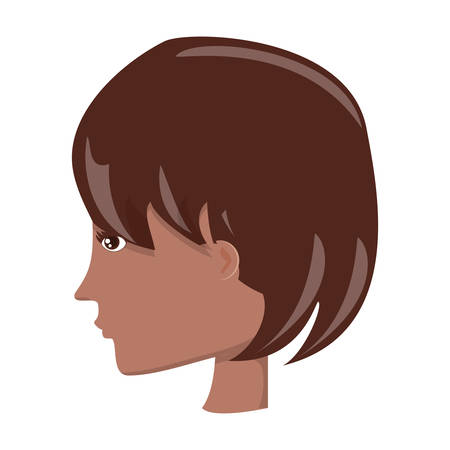 avatar woman with short hair over white background, colorful design. vector illustration Stock Illustratie