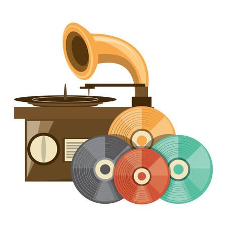 gramófono y vinilos sobre fondo blanco, diseño colorido. ilustración vectorial