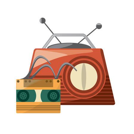 retro radio and cassette over white background, colorful design. vector illustration