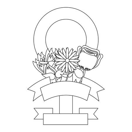 female symbol with beautiful flowers  over white background, vector illustration