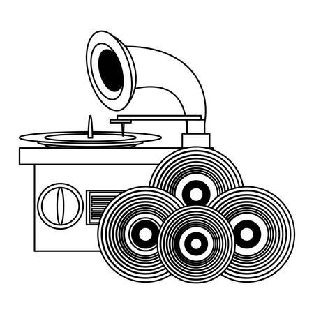 Gramófono y vinilos sobre fondo blanco, ilustración vectorial
