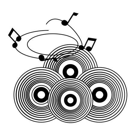Vinilos vintage y notas musicales sobre fondo blanco, ilustración vectorial