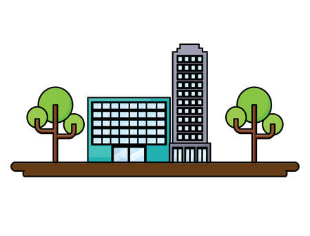 city buildings and trees over white background, colorful design. vector illustration