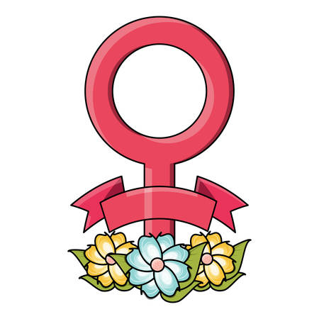 female symbol with beautiful flowers  over white background, colorful design. vector illustration
