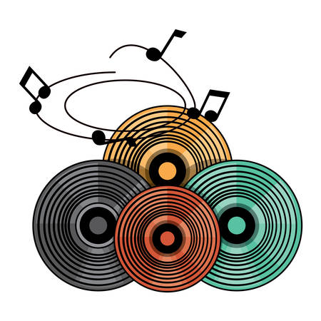 vintage vinyls and musical notes over white background, colorful design. vector illustration
